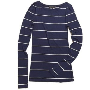 BCBG Women's Navy White Striped Long Sleeve Top S